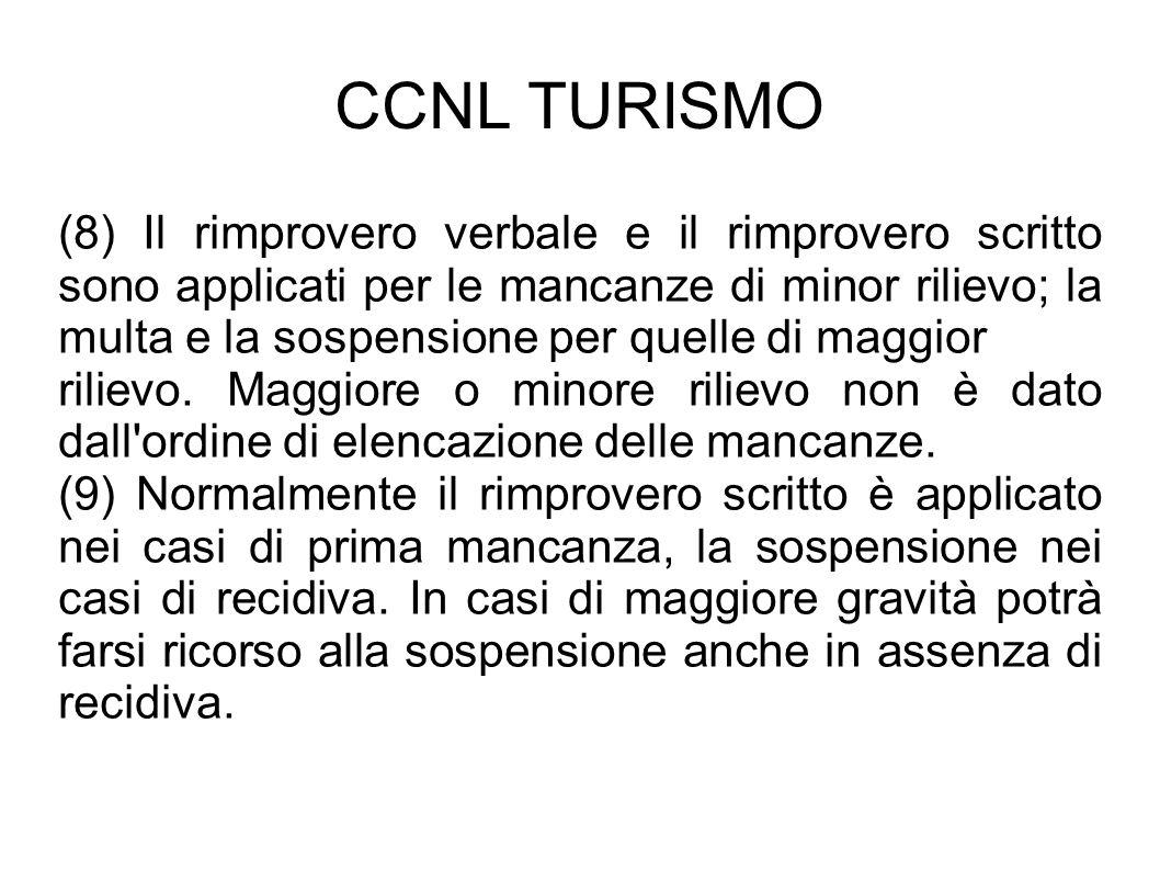 CCNL TURISMO (8) Il rimprovero verbale e il rimprovero scritto sono applicati per le mancanze di minor rilievo; la multa e la sospensione per quelle d