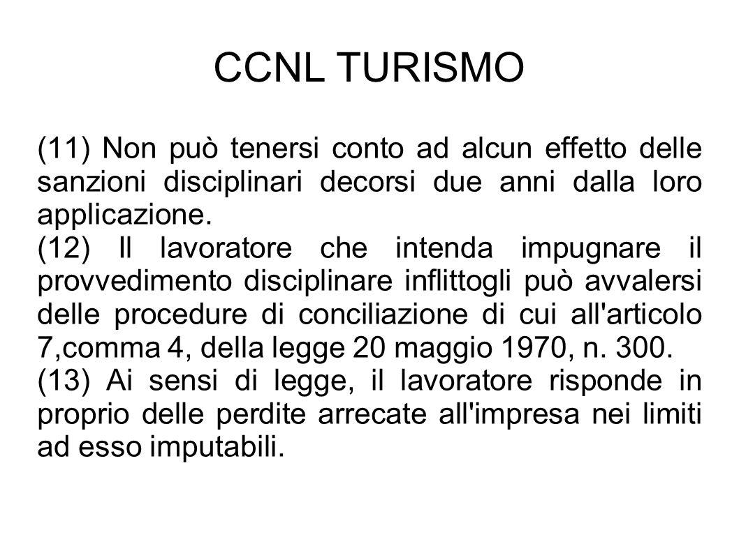 CCNL TURISMO (11) Non può tenersi conto ad alcun effetto delle sanzioni disciplinari decorsi due anni dalla loro applicazione. (12) Il lavoratore che