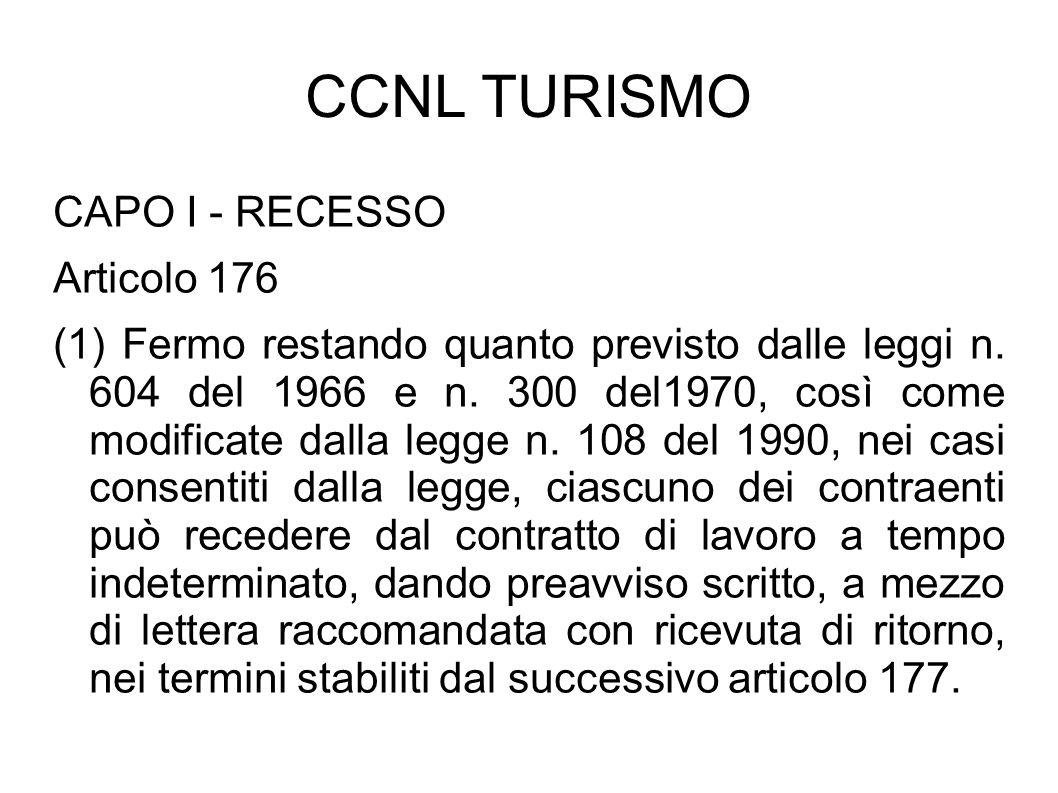 CCNL TURISMO CAPO I - RECESSO Articolo 176 (1) Fermo restando quanto previsto dalle leggi n. 604 del 1966 e n. 300 del1970, così come modificate dalla