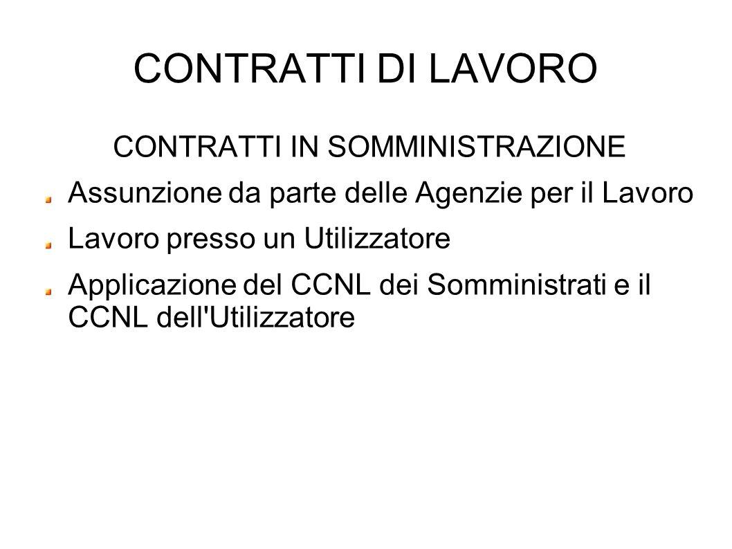 CONTRATTI DI LAVORO CONTRATTI IN SOMMINISTRAZIONE Assunzione da parte delle Agenzie per il Lavoro Lavoro presso un Utilizzatore Applicazione del CCNL