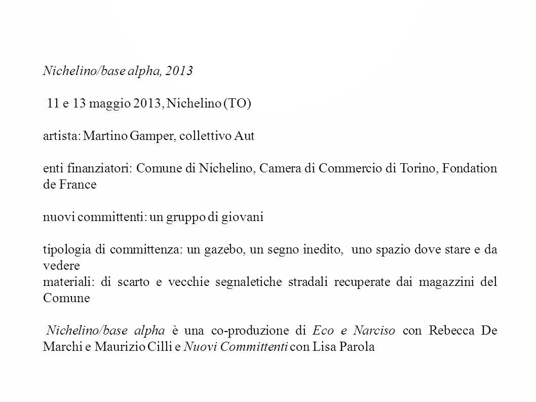 Nichelino/base alpha, 2013 11 e 13 maggio 2013, Nichelino (TO) artista: Martino Gamper, collettivo Aut enti finanziatori: Comune di Nichelino, Camera
