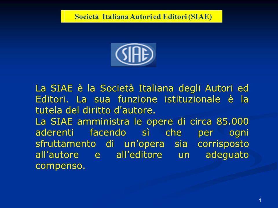 1 La SIAE è la Società Italiana degli Autori ed Editori. La sua funzione istituzionale è la tutela del diritto d'autore. La SIAE amministra le opere d