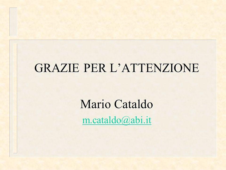 GRAZIE PER LATTENZIONE Mario Cataldo m.cataldo@abi.it