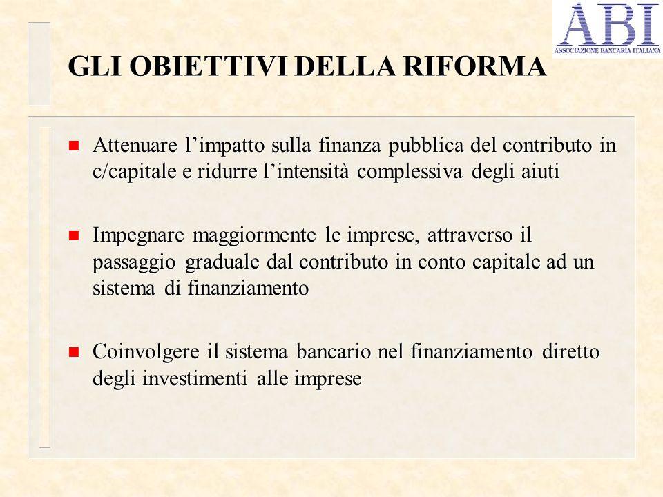 GLI OBIETTIVI DELLA RIFORMA n Attenuare limpatto sulla finanza pubblica del contributo in c/capitale e ridurre lintensità complessiva degli aiuti n Im