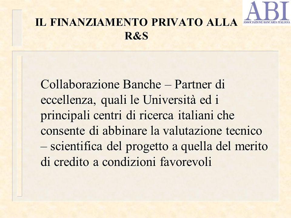 IL FINANZIAMENTO PRIVATO ALLA R&S Collaborazione Banche – Partner di eccellenza, quali le Università ed i principali centri di ricerca italiani che co