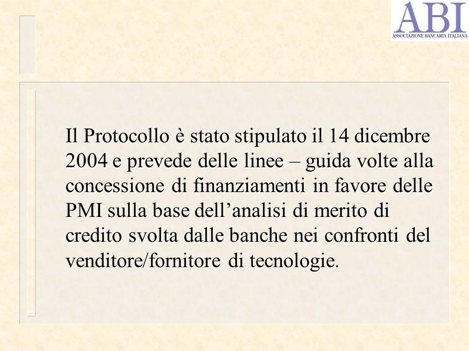 Il Protocollo è stato stipulato il 14 dicembre 2004 e prevede delle linee – guida volte alla concessione di finanziamenti in favore delle PMI sulla ba