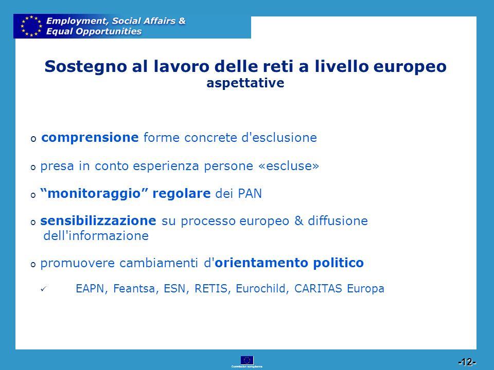 Commission européenne 12 -12- Sostegno al lavoro delle reti a livello europeo aspettative o comprensione forme concrete d'esclusione o presa in conto