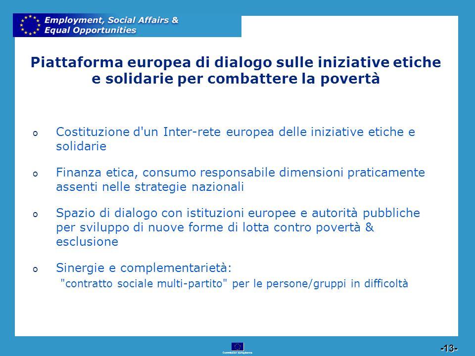 Commission européenne 13 -13- Piattaforma europea di dialogo sulle iniziative etiche e solidarie per combattere la povertà o Costituzione d'un Inter-r