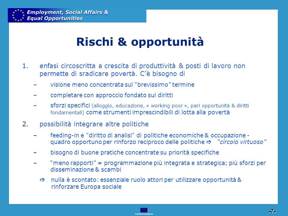 Commission européenne 7 -7- 1.enfasi circoscritta a crescita di produttività & posti di lavoro non permette di sradicare povertà. Cè bisogno di –visio