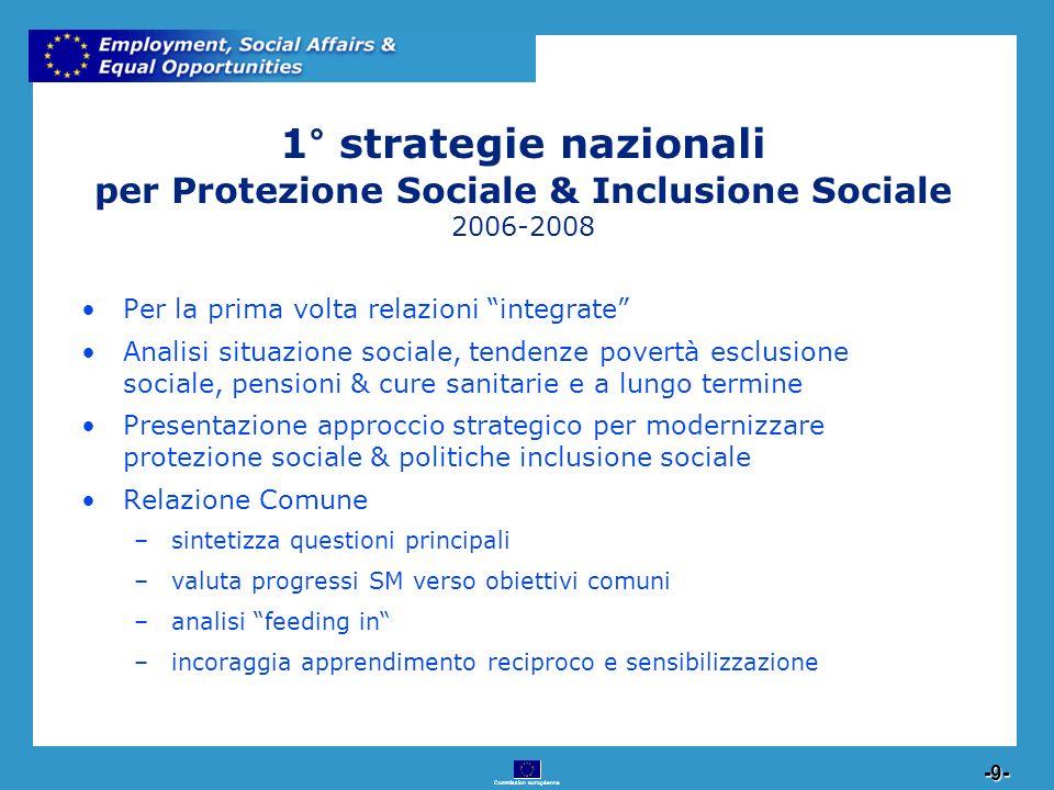 Commission européenne 9 -9- 1° strategie nazionali per Protezione Sociale & Inclusione Sociale 2006-2008 Per la prima volta relazioni integrate Analis
