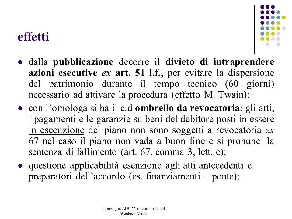 effetti dalla pubblicazione decorre il divieto di intraprendere azioni esecutive ex art. 51 l.f., per evitare la dispersione del patrimonio durante il