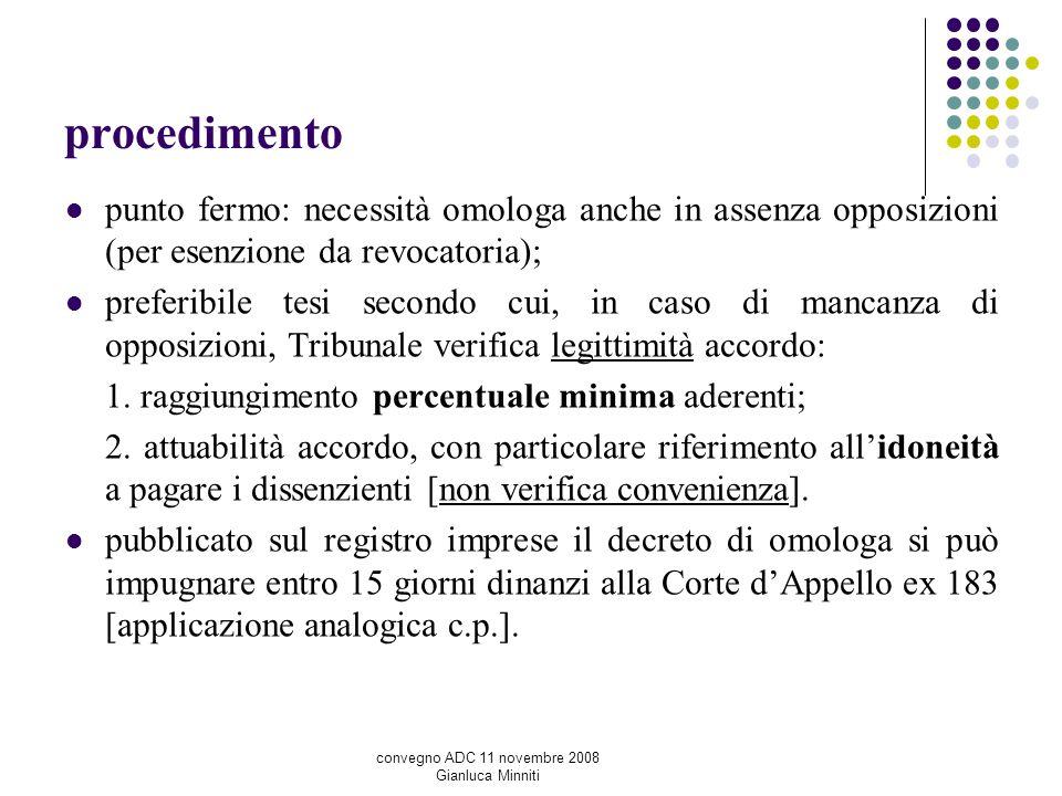 procedimento punto fermo: necessità omologa anche in assenza opposizioni (per esenzione da revocatoria); preferibile tesi secondo cui, in caso di manc