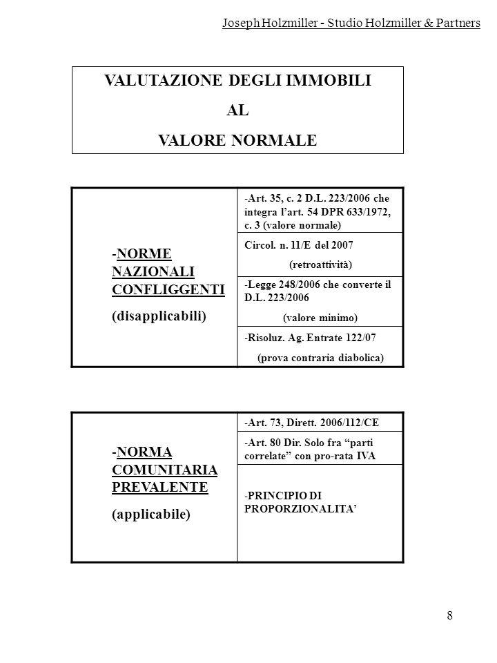 8 VALUTAZIONE DEGLI IMMOBILI AL VALORE NORMALE -NORME NAZIONALI CONFLIGGENTI (disapplicabili) -Art. 35, c. 2 D.L. 223/2006 che integra lart. 54 DPR 63