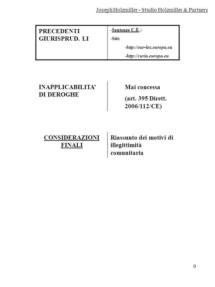 9 PRECEDENTI GIURISPRUD. LI -Sentenze C.E.: -Siti: -http://eur-lex.europa.eu -http://curia.europa.eu INAPPLICABILITA DI DEROGHE Mai concessa (art. 395