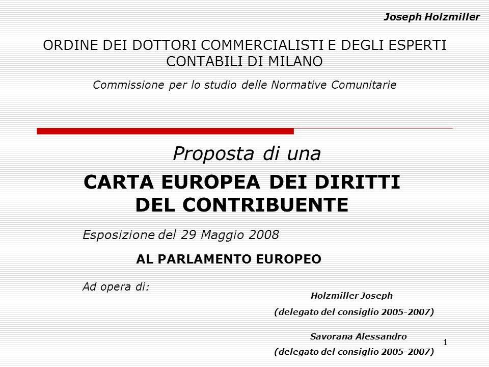 1 ORDINE DEI DOTTORI COMMERCIALISTI E DEGLI ESPERTI CONTABILI DI MILANO Proposta di una Commissione per lo studio delle Normative Comunitarie CARTA EU