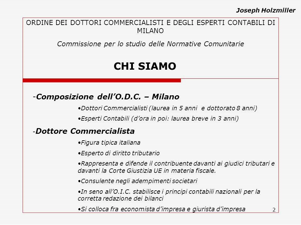 2 ORDINE DEI DOTTORI COMMERCIALISTI E DEGLI ESPERTI CONTABILI DI MILANO Commissione per lo studio delle Normative Comunitarie CHI SIAMO -Composizione dellO.D.C.