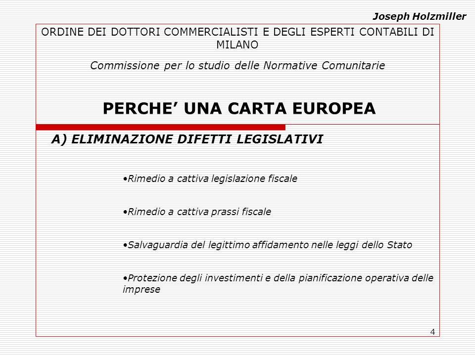 4 ORDINE DEI DOTTORI COMMERCIALISTI E DEGLI ESPERTI CONTABILI DI MILANO Commissione per lo studio delle Normative Comunitarie PERCHE UNA CARTA EUROPEA A) ELIMINAZIONE DIFETTI LEGISLATIVI Rimedio a cattiva legislazione fiscale Rimedio a cattiva prassi fiscale Salvaguardia del legittimo affidamento nelle leggi dello Stato Protezione degli investimenti e della pianificazione operativa delle imprese Joseph Holzmiller