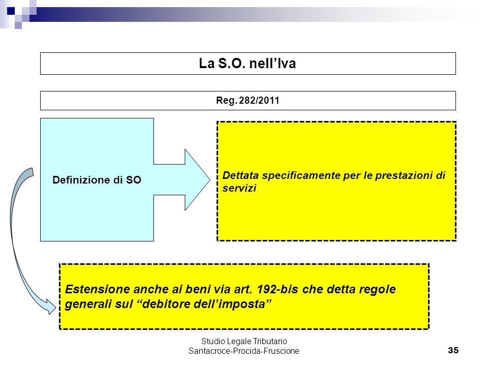 35 Dettata specificamente per le prestazioni di servizi Definizione di SO Studio Legale Tributario Santacroce-Procida-Fruscione La S.O. nellIva Reg. 2