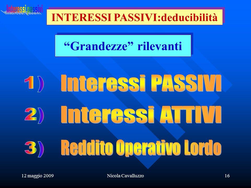 12 maggio 2009Nicola Cavalluzzo16 Grandezze rilevanti INTERESSI PASSIVI:deducibilità