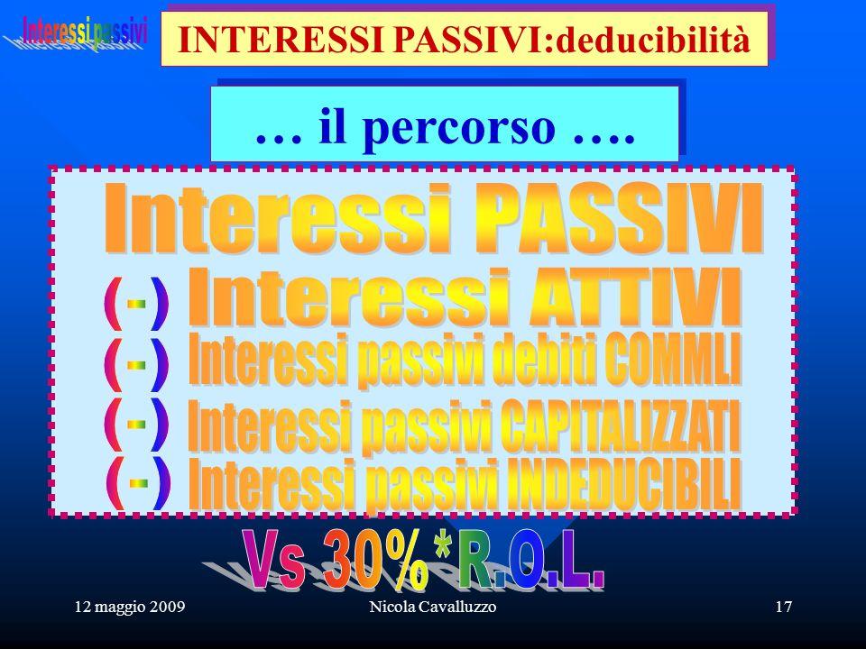 12 maggio 2009Nicola Cavalluzzo17 INTERESSI PASSIVI:deducibilità … il percorso ….