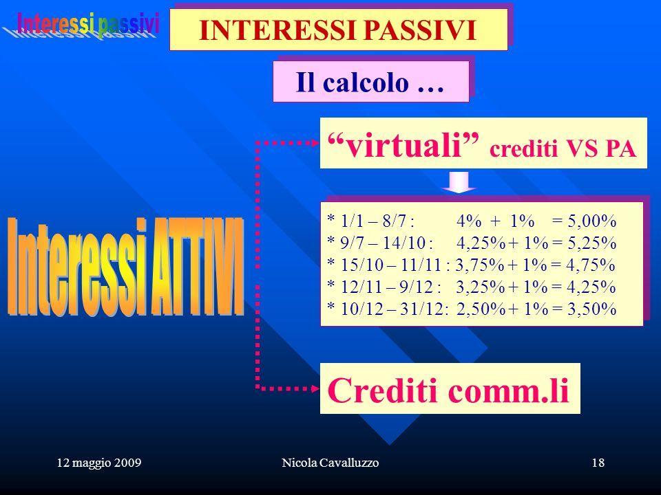 12 maggio 2009Nicola Cavalluzzo18 Il calcolo … INTERESSI PASSIVI * 1/1 – 8/7 : 4% + 1% = 5,00% * 9/7 – 14/10 : 4,25% + 1% = 5,25% * 15/10 – 11/11 : 3,75% + 1% = 4,75% * 12/11 – 9/12 : 3,25% + 1% = 4,25% * 10/12 – 31/12: 2,50% + 1% = 3,50% * 1/1 – 8/7 : 4% + 1% = 5,00% * 9/7 – 14/10 : 4,25% + 1% = 5,25% * 15/10 – 11/11 : 3,75% + 1% = 4,75% * 12/11 – 9/12 : 3,25% + 1% = 4,25% * 10/12 – 31/12: 2,50% + 1% = 3,50% virtuali crediti VS PA Crediti comm.li
