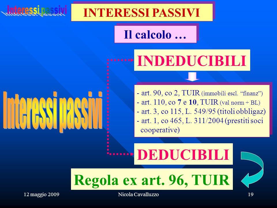 12 maggio 2009Nicola Cavalluzzo19 Il calcolo … INTERESSI PASSIVI - art.