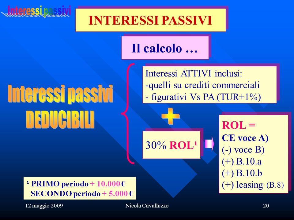 12 maggio 2009Nicola Cavalluzzo20 Il calcolo … INTERESSI PASSIVI Interessi ATTIVI inclusi: -quelli su crediti commerciali - figurativi Vs PA (TUR+1%) Interessi ATTIVI inclusi: -quelli su crediti commerciali - figurativi Vs PA (TUR+1%) 30% ROL¹ ROL = CE voce A) (-) voce B) (+) B.10.a (+) B.10.b (+) leasing (B.8) ROL = CE voce A) (-) voce B) (+) B.10.a (+) B.10.b (+) leasing (B.8) ¹ PRIMO periodo + 10.000 SECONDO periodo + 5.000