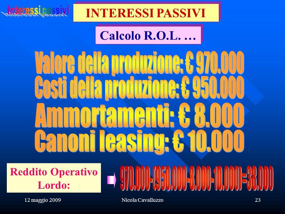12 maggio 2009Nicola Cavalluzzo23 Calcolo R.O.L. … INTERESSI PASSIVI Reddito Operativo Lordo: