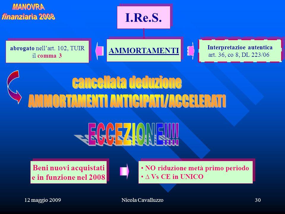 12 maggio 2009Nicola Cavalluzzo30 I.Re.S. AMMORTAMENTI abrogato nellart.