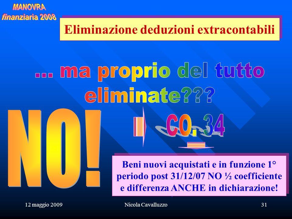12 maggio 2009Nicola Cavalluzzo31 Beni nuovi acquistati e in funzione 1° periodo post 31/12/07 NO ½ coefficiente e differenza ANCHE in dichiarazione.