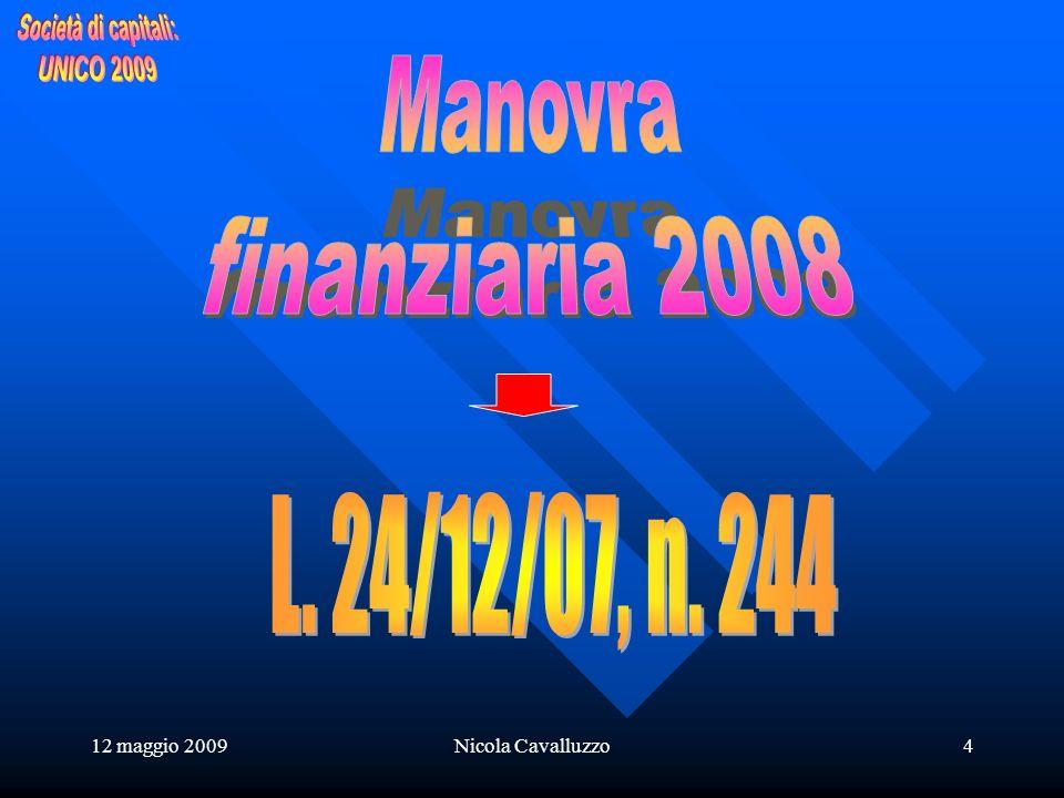 12 maggio 2009Nicola Cavalluzzo5 MAPPA NOVITA MAPPA NOVITA I.Re.S.