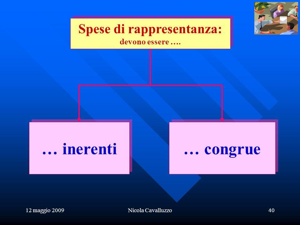 12 maggio 2009Nicola Cavalluzzo40 … inerenti … congrue Spese di rappresentanza: devono essere ….