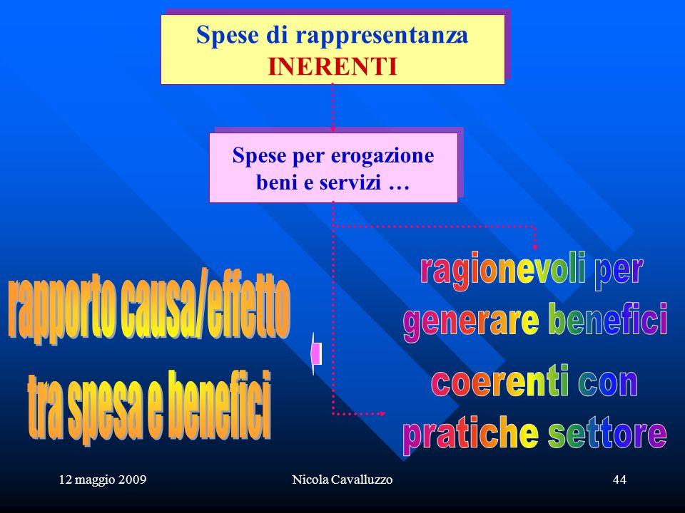 12 maggio 2009Nicola Cavalluzzo44 Spese per erogazione beni e servizi … Spese per erogazione beni e servizi … Spese di rappresentanza INERENTI Spese di rappresentanza INERENTI