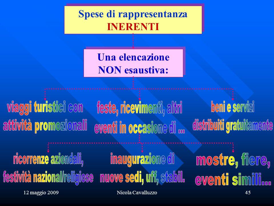 12 maggio 2009Nicola Cavalluzzo45 Una elencazione NON esaustiva: Una elencazione NON esaustiva: Spese di rappresentanza INERENTI Spese di rappresentanza INERENTI