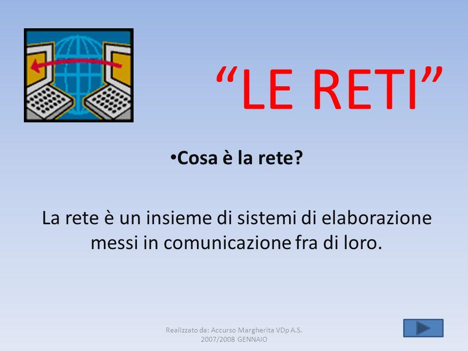 Realizzato da: Accurso Margherita VDp A.S. 2007/2008 GENNAIO 1 LE RETI Cosa è la rete? La rete è un insieme di sistemi di elaborazione messi in comuni