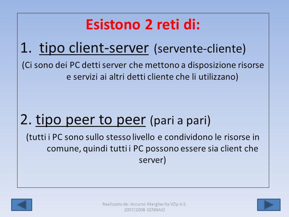 Realizzato da: Accurso Margherita VDp A.S. 2007/2008 GENNAIO 5 Esistono 2 reti di: 1.tipo client-server (servente-cliente) (Ci sono dei PC detti serve