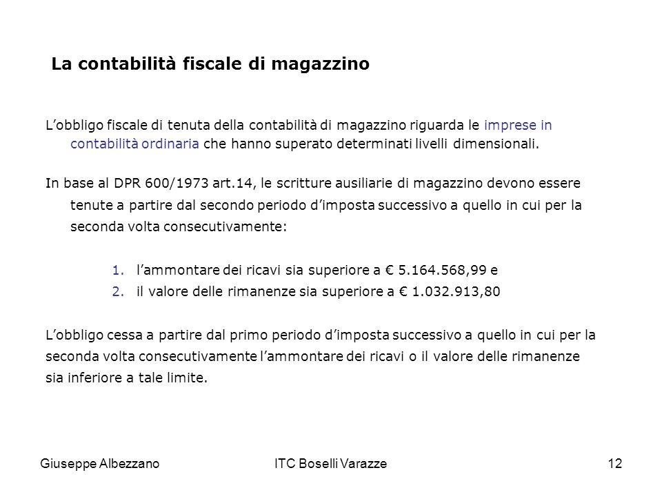 Giuseppe AlbezzanoITC Boselli Varazze12 La contabilità fiscale di magazzino Lobbligo fiscale di tenuta della contabilità di magazzino riguarda le impr