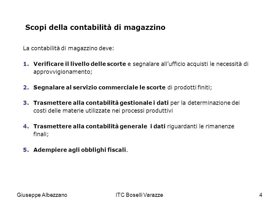 Giuseppe AlbezzanoITC Boselli Varazze4 Scopi della contabilità di magazzino La contabilità di magazzino deve: 1.Verificare il livello delle scorte e s