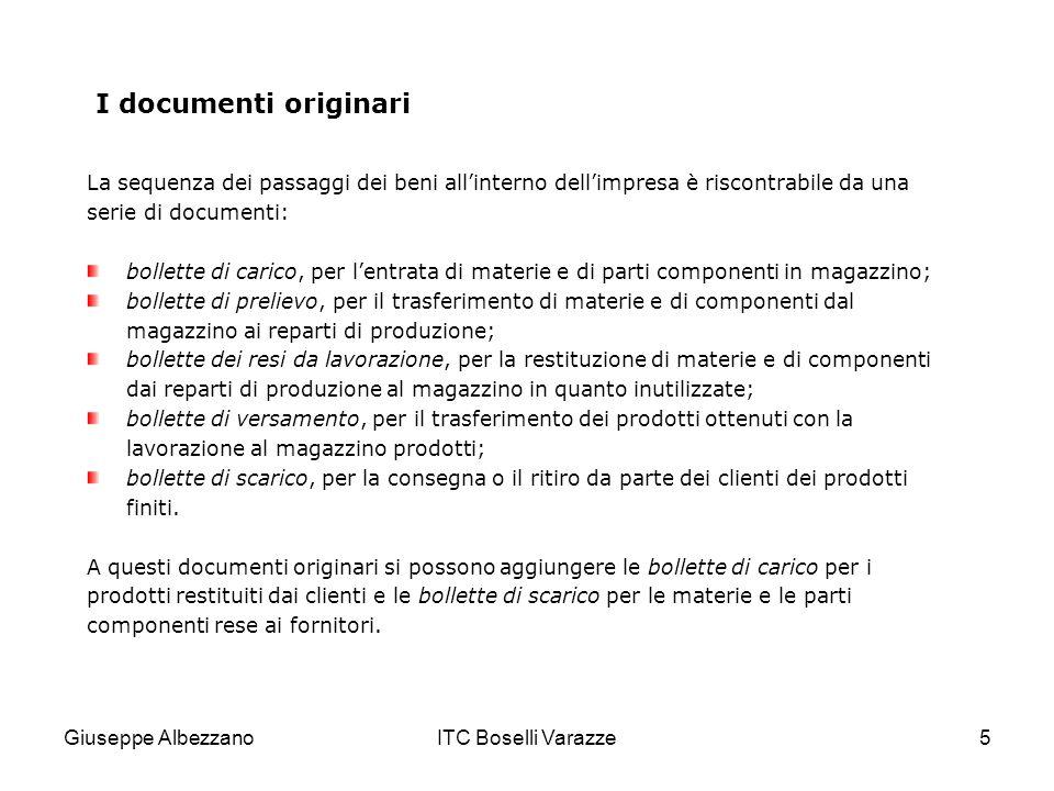 Giuseppe AlbezzanoITC Boselli Varazze5 I documenti originari La sequenza dei passaggi dei beni allinterno dellimpresa è riscontrabile da una serie di