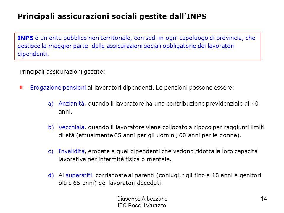 Giuseppe Albezzano ITC Boselli Varazze 14 Principali assicurazioni sociali gestite dallINPS INPS è un ente pubblico non territoriale, con sedi in ogni