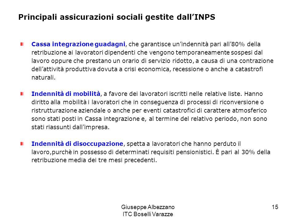 Giuseppe Albezzano ITC Boselli Varazze 15 Principali assicurazioni sociali gestite dallINPS Cassa integrazione guadagni, che garantisce unindennità pa