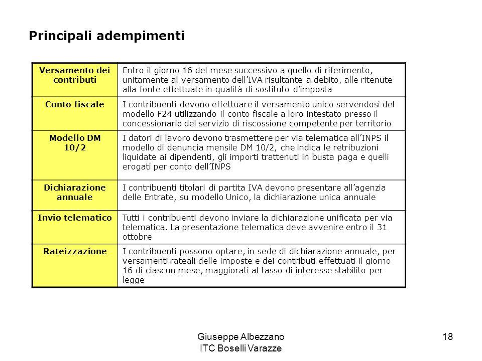 Giuseppe Albezzano ITC Boselli Varazze 18 Versamento dei contributi Entro il giorno 16 del mese successivo a quello di riferimento, unitamente al vers