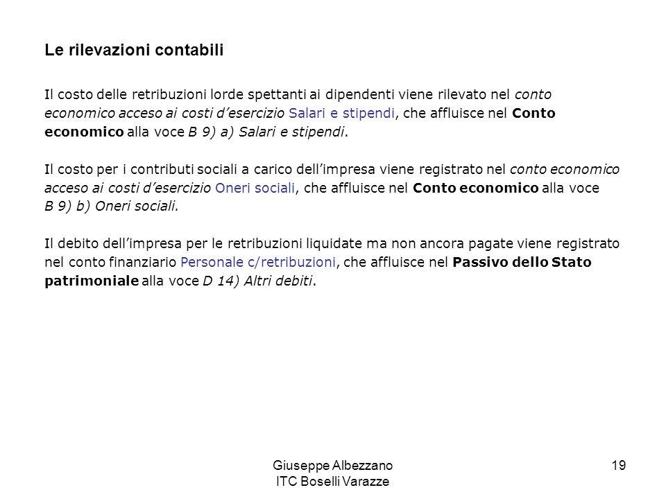 Giuseppe Albezzano ITC Boselli Varazze 19 Le rilevazioni contabili Il costo delle retribuzioni lorde spettanti ai dipendenti viene rilevato nel conto