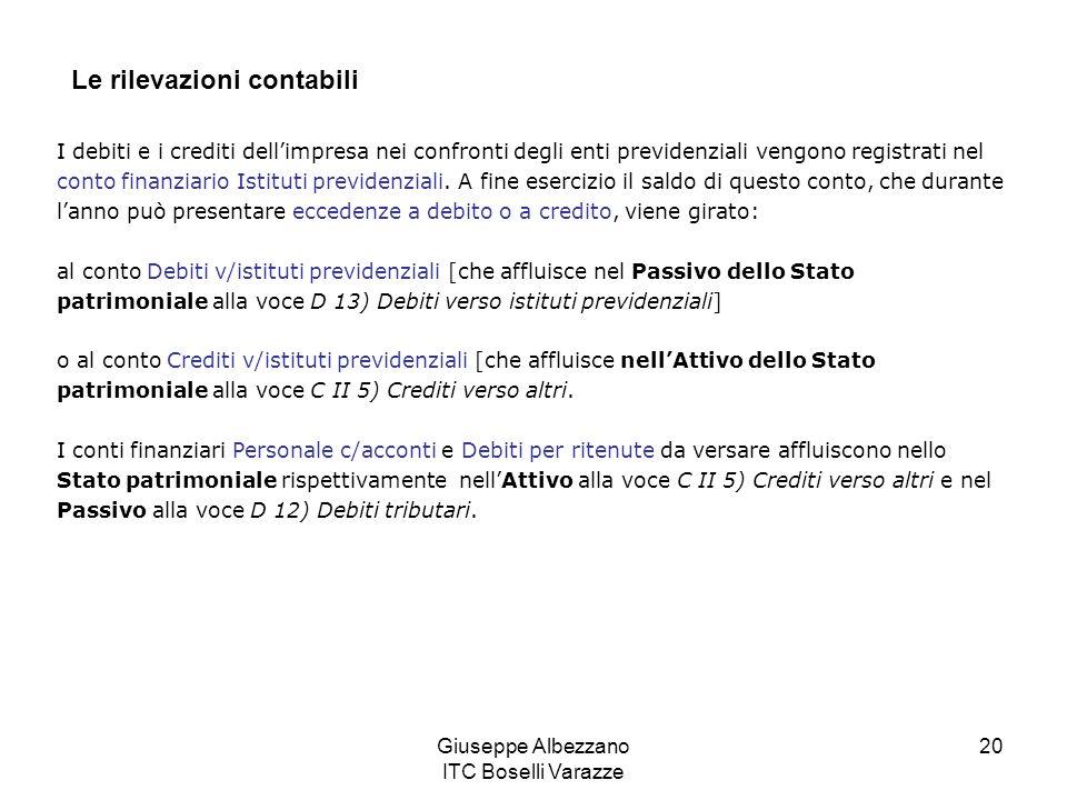 Giuseppe Albezzano ITC Boselli Varazze 20 Le rilevazioni contabili I debiti e i crediti dellimpresa nei confronti degli enti previdenziali vengono registrati nel conto finanziario Istituti previdenziali.