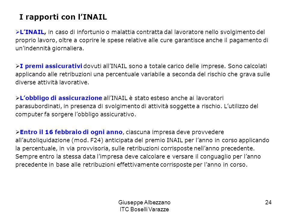 Giuseppe Albezzano ITC Boselli Varazze 24 I rapporti con lINAIL LINAIL, in caso di infortunio o malattia contratta dal lavoratore nello svolgimento de