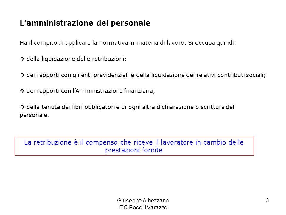 Giuseppe Albezzano ITC Boselli Varazze 3 Ha il compito di applicare la normativa in materia di lavoro. Si occupa quindi: della liquidazione delle retr