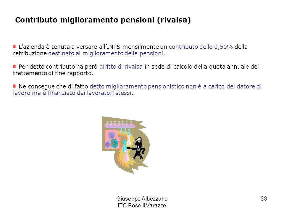 Giuseppe Albezzano ITC Boselli Varazze 33 Contributo miglioramento pensioni (rivalsa) Lazienda è tenuta a versare allINPS mensilmente un contributo dello 0,50% della retribuzione destinato al miglioramento delle pensioni.
