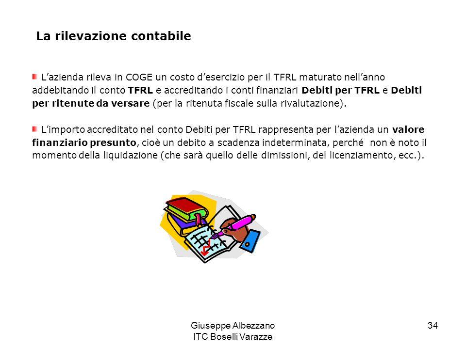 Giuseppe Albezzano ITC Boselli Varazze 34 Lazienda rileva in COGE un costo desercizio per il TFRL maturato nellanno addebitando il conto TFRL e accred