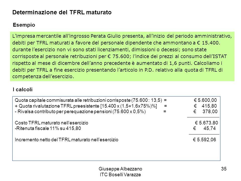 Giuseppe Albezzano ITC Boselli Varazze 35 Determinazione del TFRL maturato Esempio Limpresa mercantile allingrosso Perata Giulio presenta, allinizio d