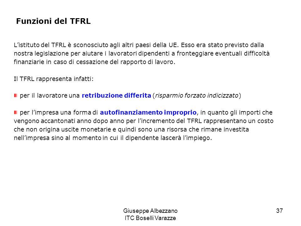 Giuseppe Albezzano ITC Boselli Varazze 37 Funzioni del TFRL Listituto del TFRL è sconosciuto agli altri paesi della UE. Esso era stato previsto dalla